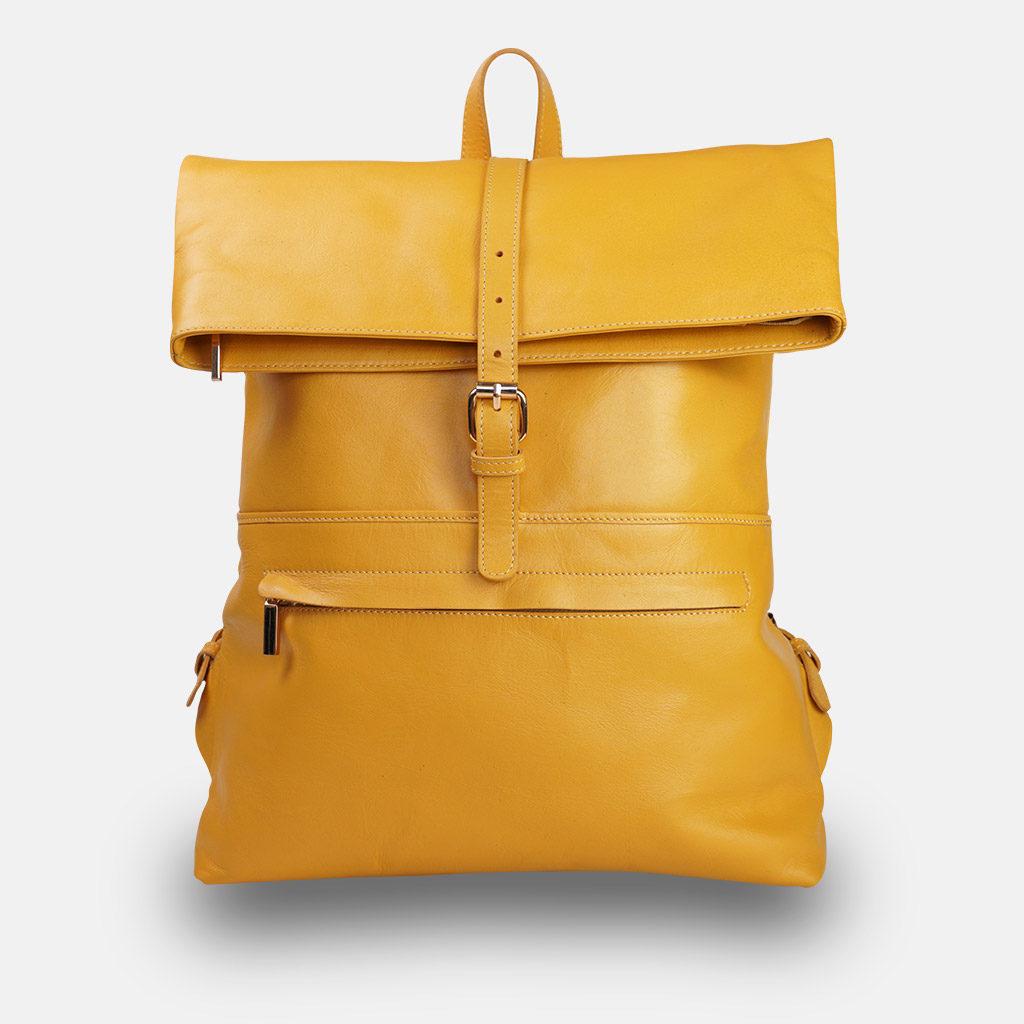 Gelber Lederrucksack