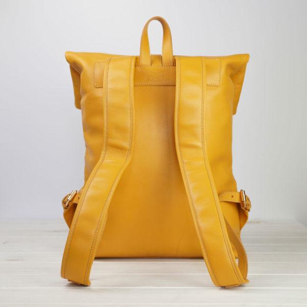 Rucksack, Leder, Gelb, hinten