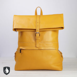 Gelber Lederrucksack, Vorderansicht