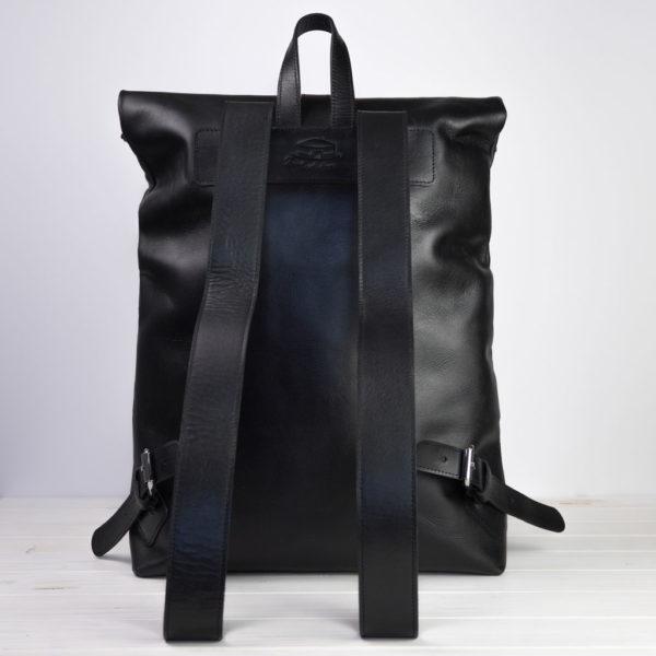 Lederrucksack, schwarz, Rückseite