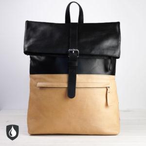 Lederrucksack, schwarz, Natur-Leder