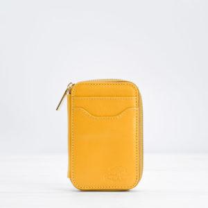 Mini-Geldbörse, Leder, gelb