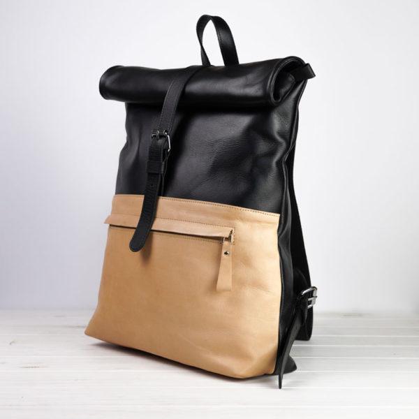 Rucksack, Natur-Leder, schwarz-beige
