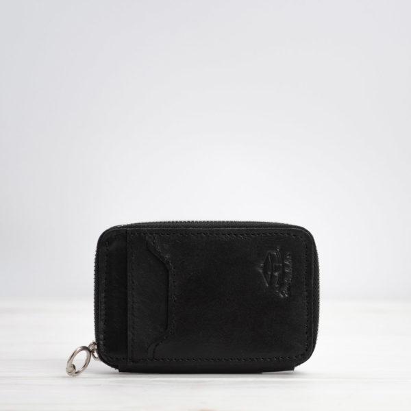 Mini-Geldbörse, Leder, schwarz